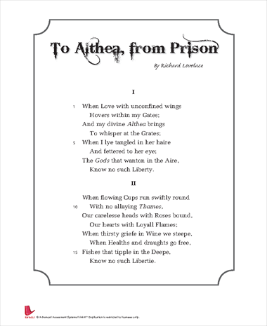 To Althea, From Prison