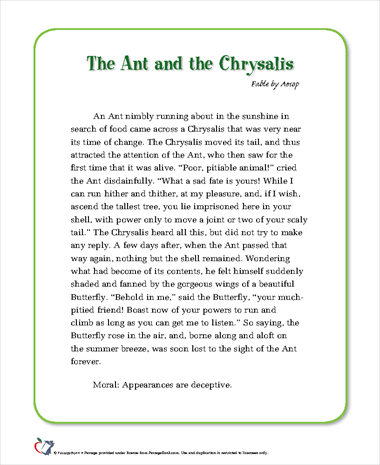 The Ant and the Chrysalis