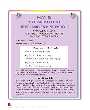 May is Art Month at Reed Middle School