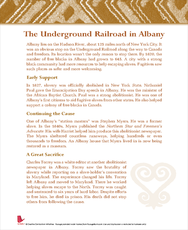 The Underground Railroad in Albany
