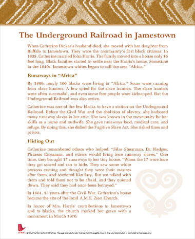 The Underground Railroad in Jamestown