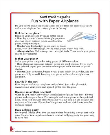 Craft World Magazine: Fun with Paper Airplanes