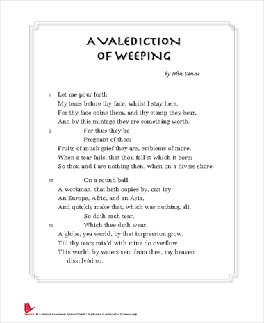 A VALEDICTION OF WEEPING