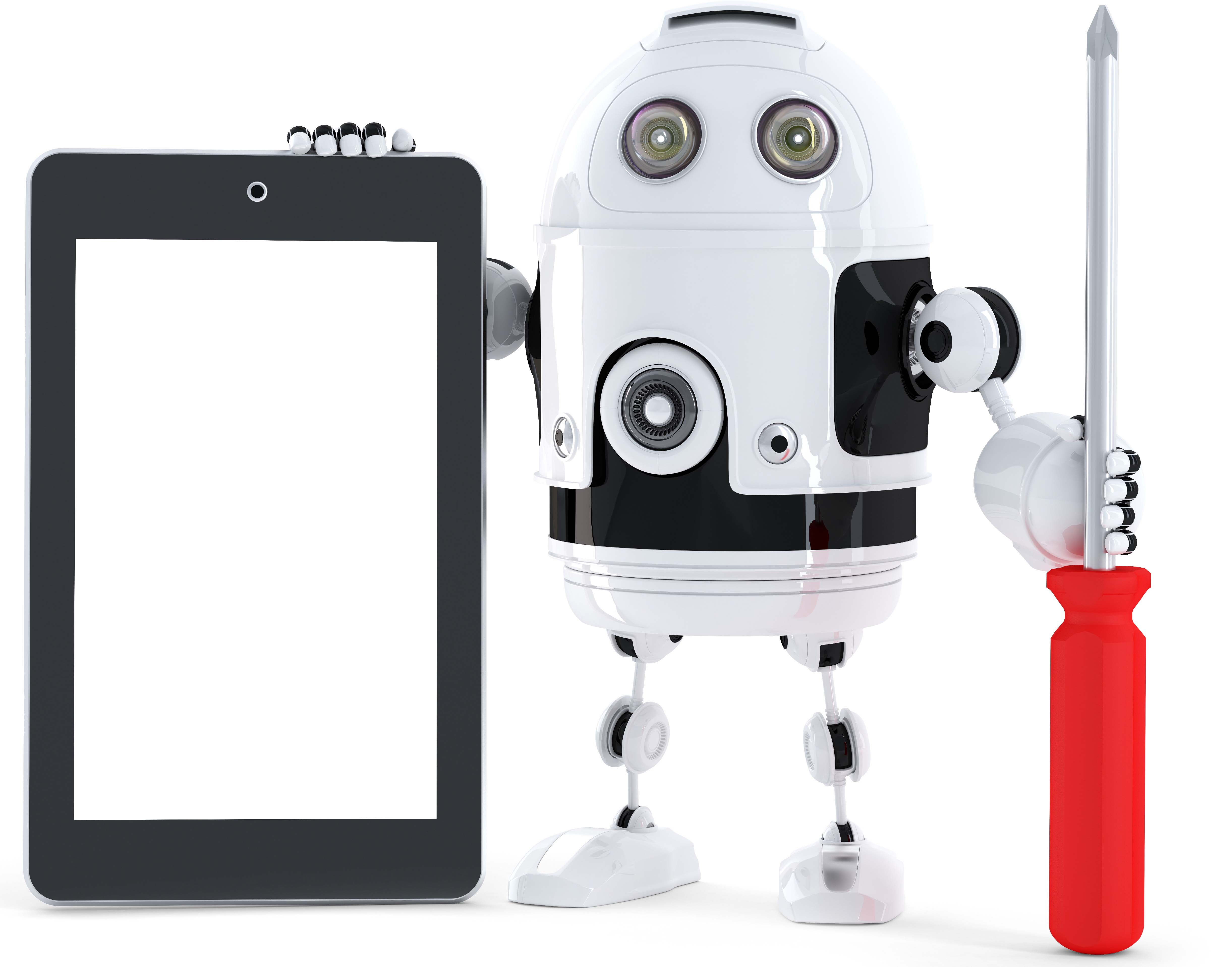 Android Robot With Tablet Computer, Storyblocks