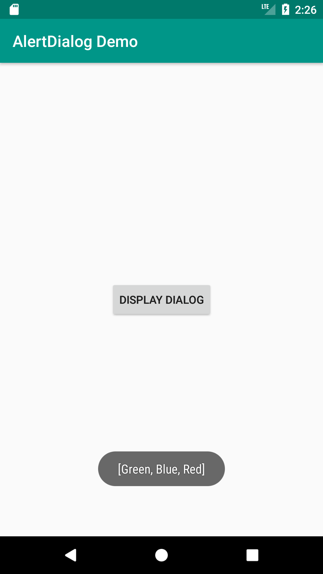 display alertdialog