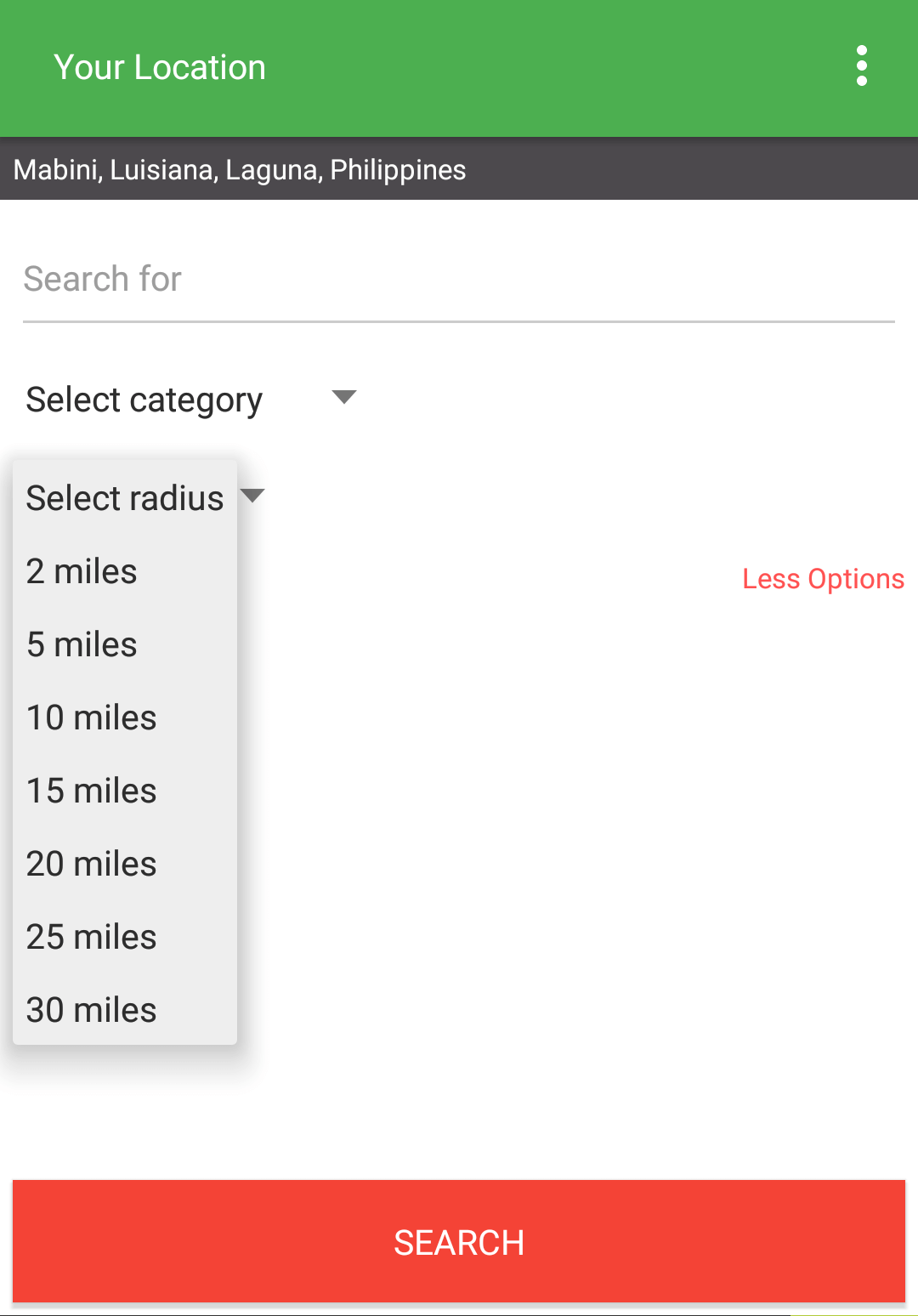 Select radius of search - Places