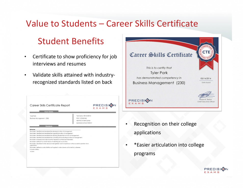 Not-So-Hidden Benefits of a Precision Exam Career Skills Certificate ...