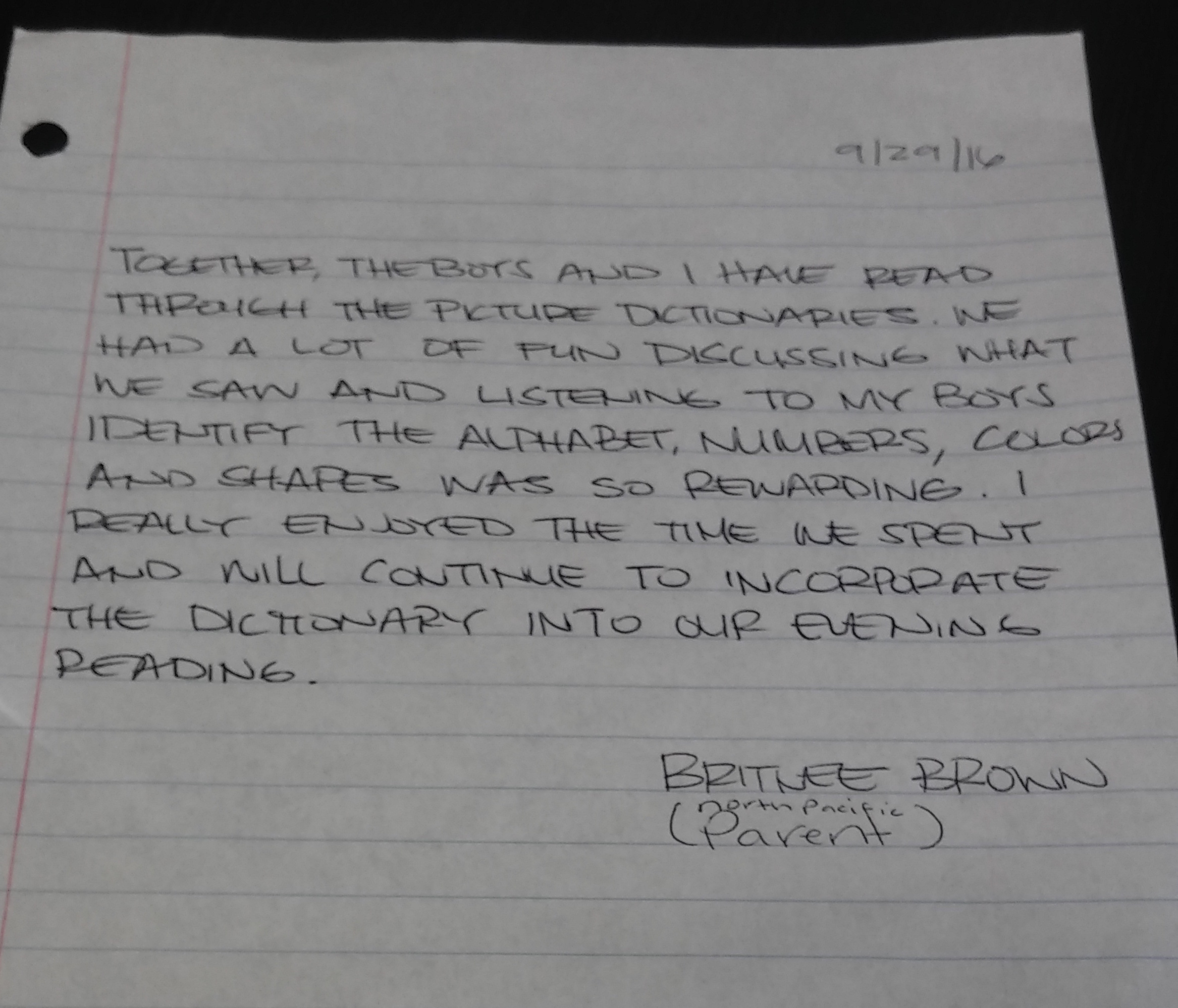 A Note from Parent Britnee Brown