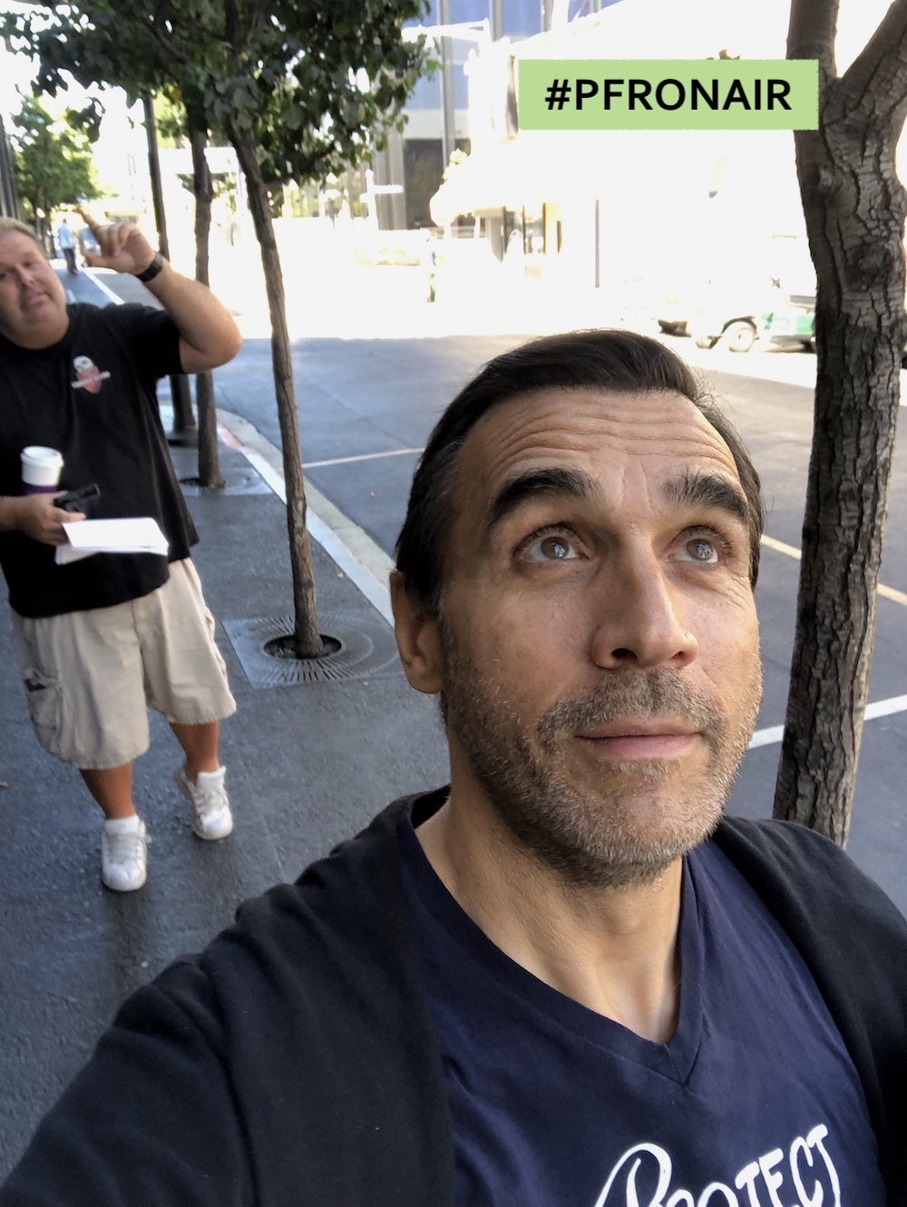 Adrian on the Lookout for a Superhero While Recording the Show...