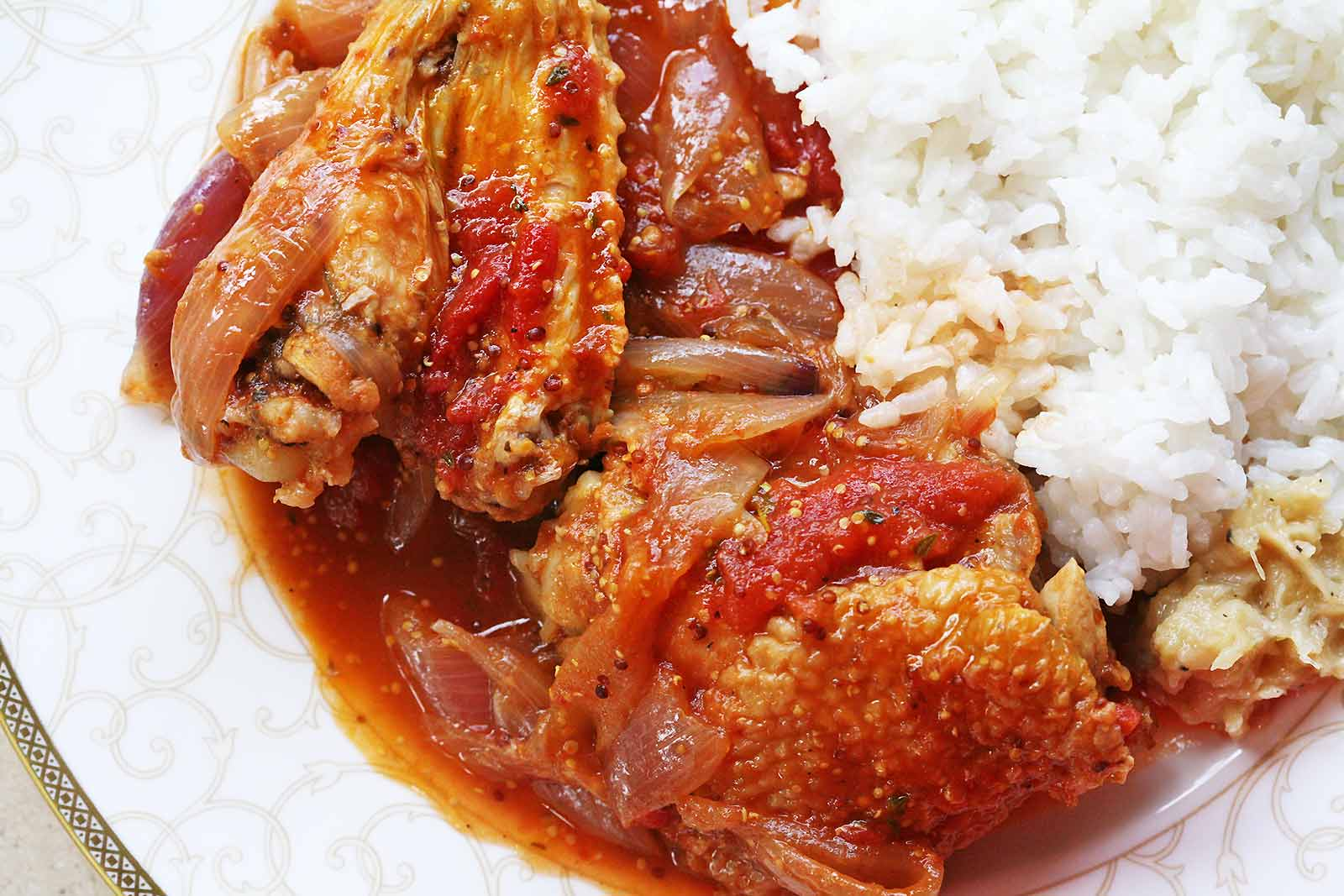 Chicken Stew with Onions, Tomatoes, and Dijon