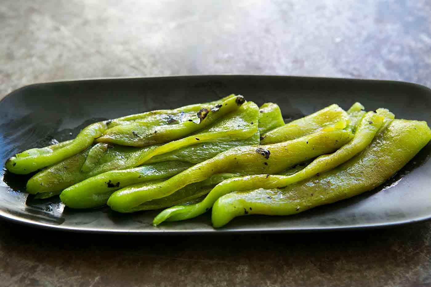 Roasted Green Chiles in a Light Vinaigrette