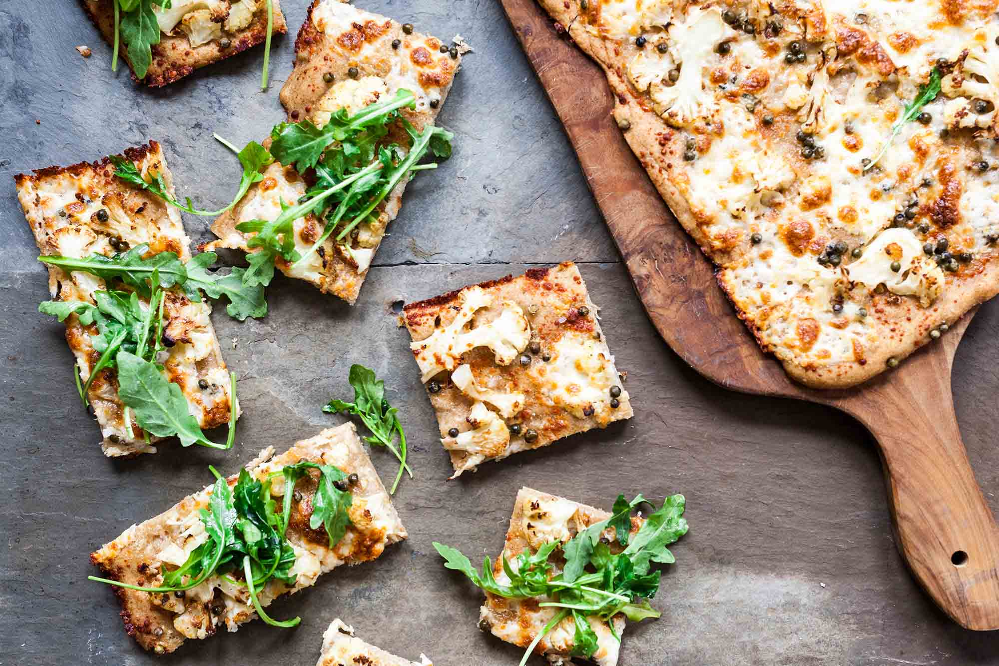 Sheet Pan Pizza with Roasted Cauliflower and Greens