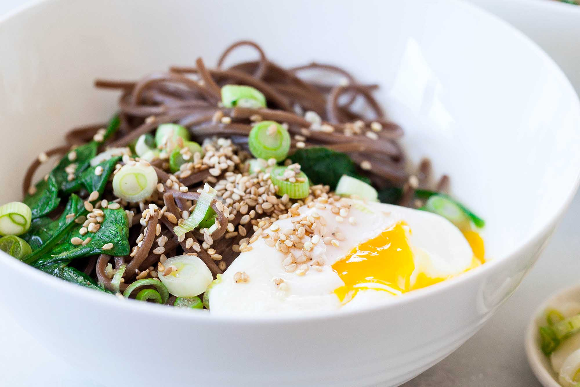 Soba Noodle Bowls with Spinach and Poached Eggs