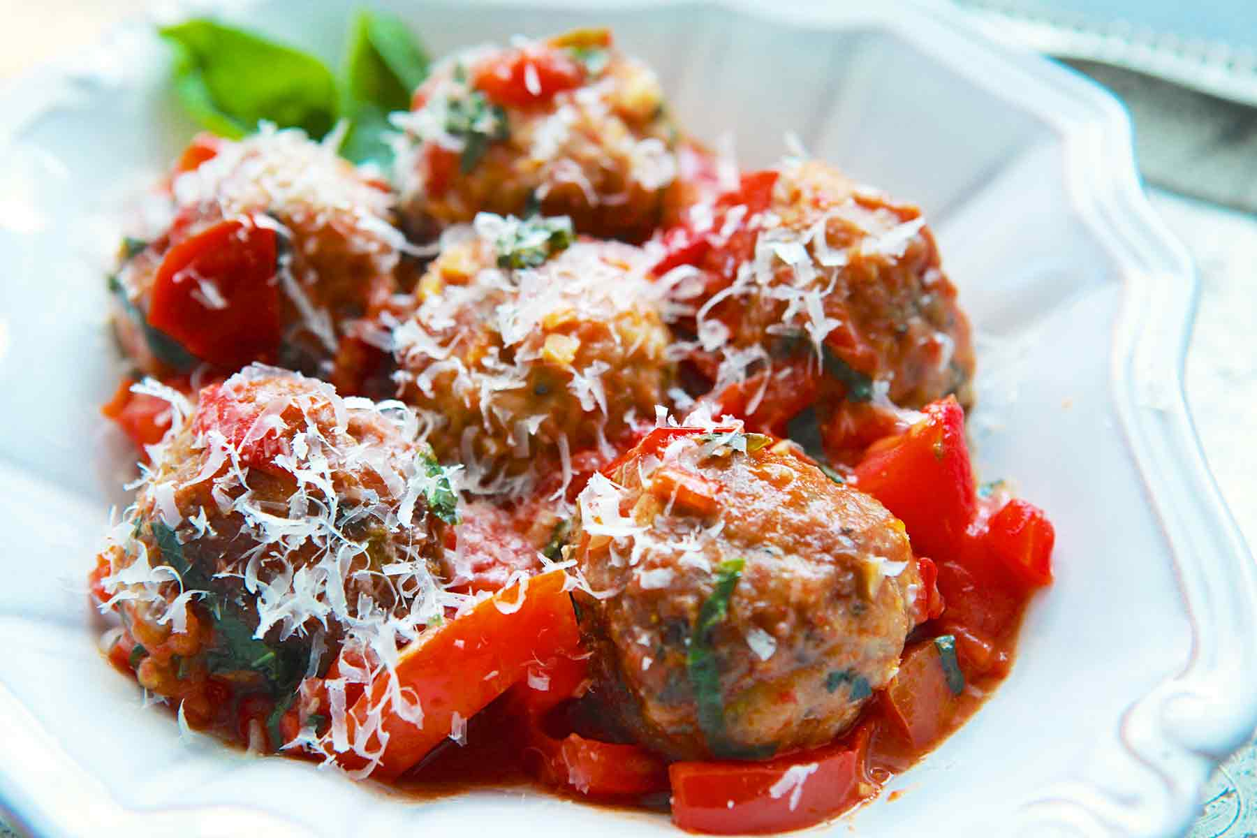 Turkey Meatballs with Tomatoes and Basil