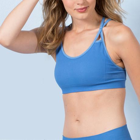 Strappy sports bra provenceblue front