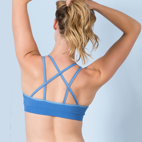 Strappy sports bra provenceblue back