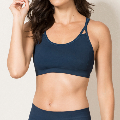 Strappy sports bra navy front