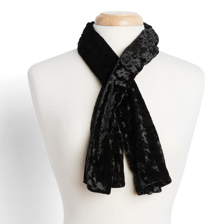 Crushed velvet scarf black