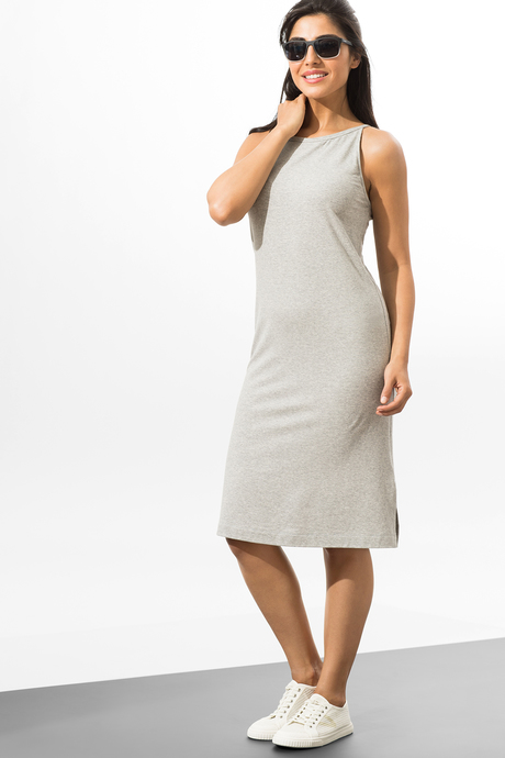 Camila dress heather gray front