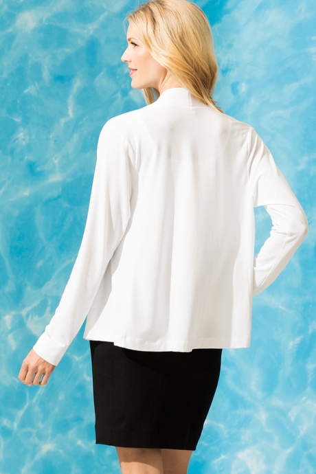Flyaway crop cardigan white back