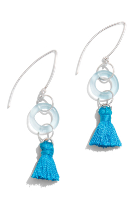 rio blue tassel earrings
