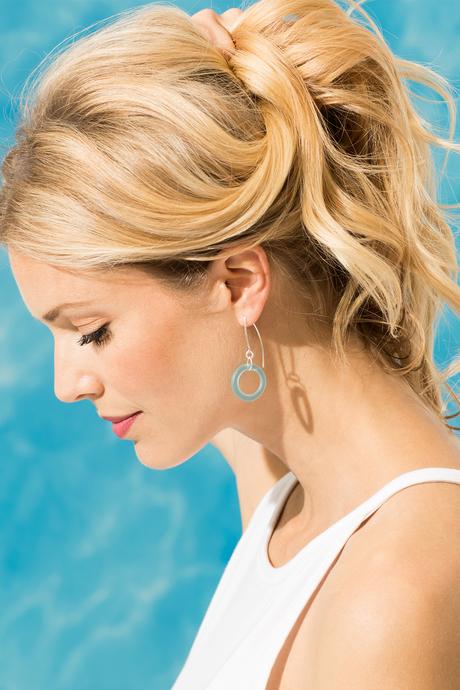 Seaglass earrings aqua side