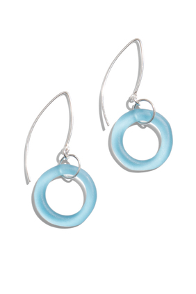 aqua seaglass earrings