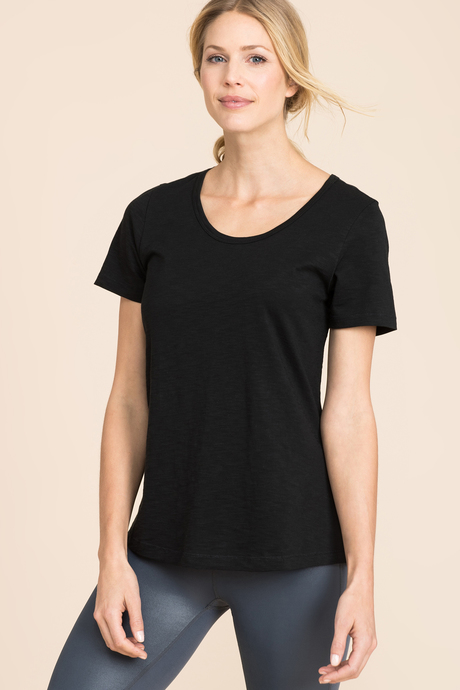 Slub scoop neck black front