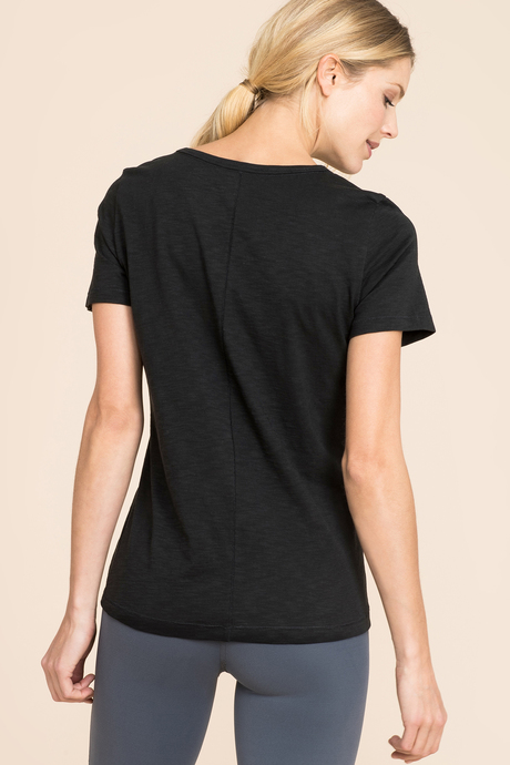 Slub scoop neck black back