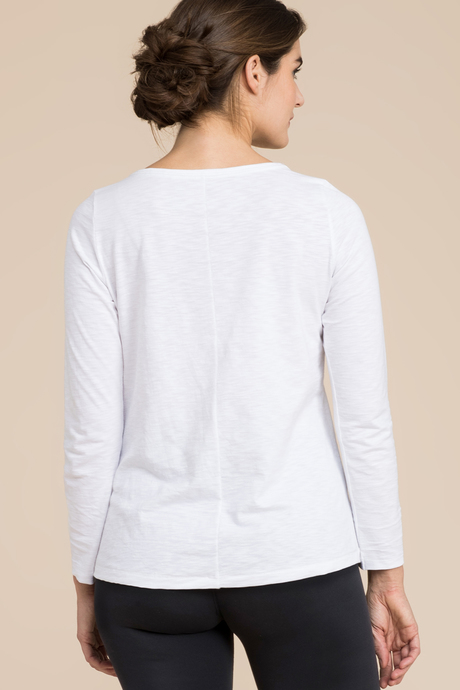 Slub open neck white back