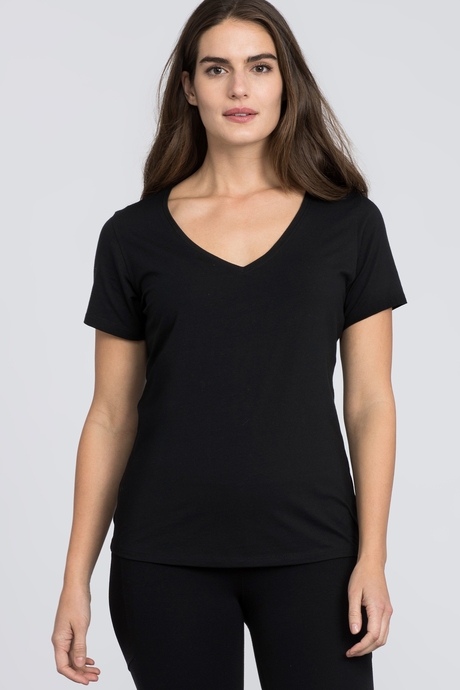 Pima v neck black front