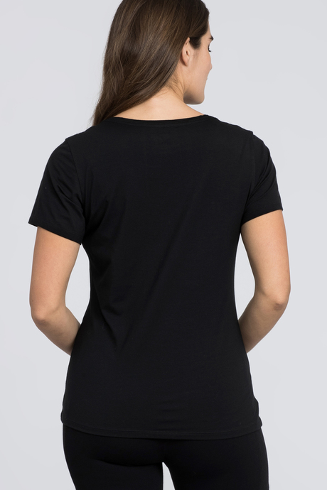 Pima v neck black back