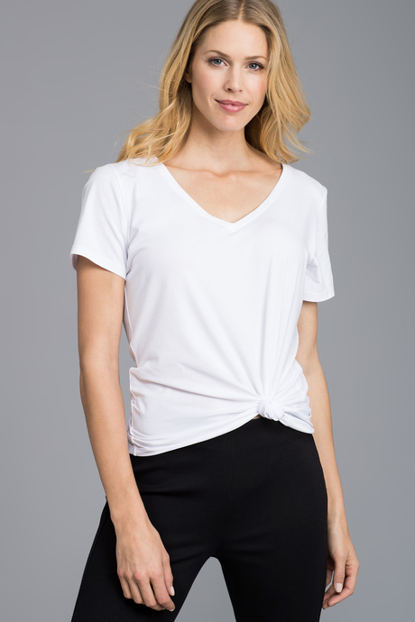 Pima v neck white front