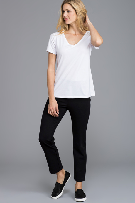 Pima v neck white full