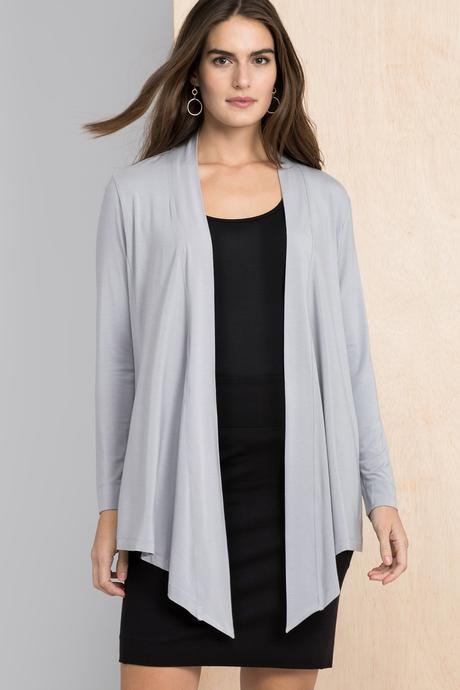 Flyaway cardigan grey front