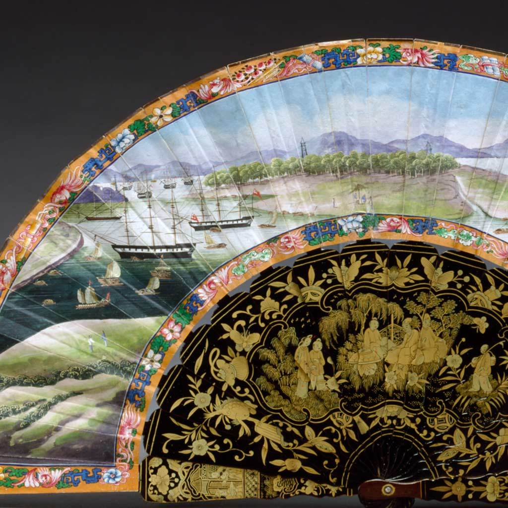 Fan with a view of Western ships, ca. 1840
