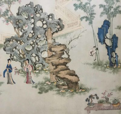 Two noble ladies in a Chinese Palace Garden, reproduction of sixteenth century painting (6)