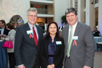Gregor Smith, PEM Corporate Committee member and Principal at Smith + St. John; Daniele Capalbo and Brian Gregory, PEM Corporate Committee member and Senior VP at Boston Private. Photograph by Kathy Tarantola / PEM