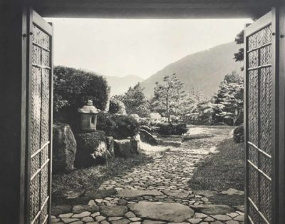 Plan and photograph of Japanese villa garden with path leading to tea room, 1930s