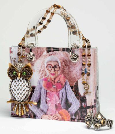 a recycled newspaper handbag, Iris collection