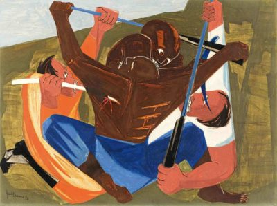Jacob Lawrence, . . . for freedom we want and will have, for we have served this cruel land long enuff . . . —a Georgia slave, 1810, Panel 27, 1956, from Struggle: From the History of the American People, 1954–56, egg tempera on hardboard.