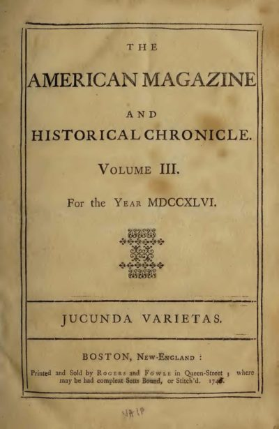 Page from The American magazine and historical chronicle