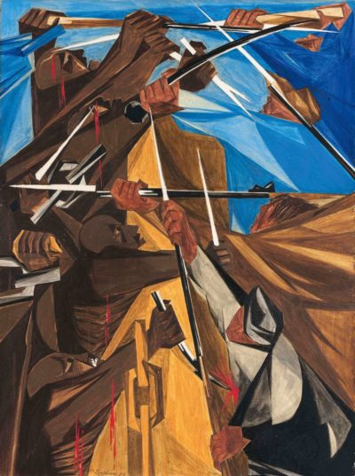 Jacob Lawrence, We have no property! We have no wives! No children! We have no city! No country! —petition of many slaves, 1773, Panel 5, 1955, from Struggle: From the History of the American People, 1954–56