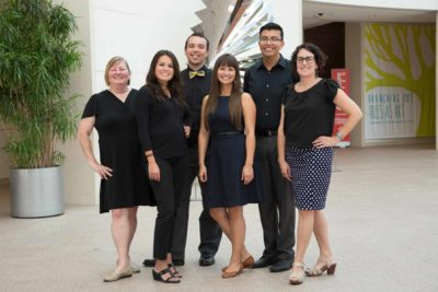 The PEM group in 2015 (from Left) : Michelle Moon, Ashley Tsosie-Mahieu, Halena Kapuni-Reynolds, Alex Nahwegahbow, Jordan Dresser and Karen Kramer. Photo by Kathy Tarantola/PEM