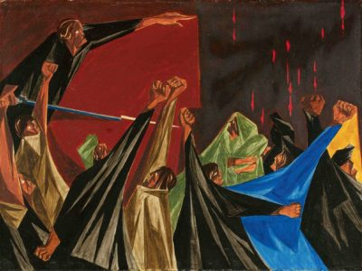 Jacob Lawrence, Panel 1. ...Is Life so dear or peace so sweet as to be purchased at the price of chains and slavery? – Patrick Henry, 1775, 1955.