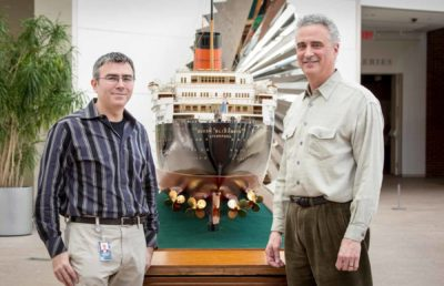 Curatorial scholar George Schwartz (left) and Daniel Finamore, The Russell W. Knight Curator of Maritime Art and History (right).
