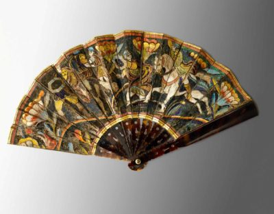 Fan, 17th century Feather, paint, gilding, tortoise shell Mexico