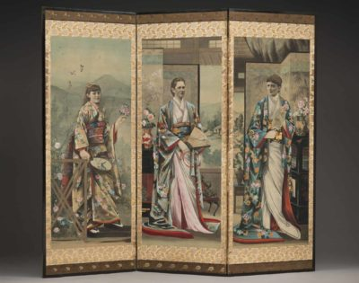 Yata Torakichi (Japan, California and San Francisco, 1857–1913) Screen, 1885 Wood, silk, paint. Japan, California, San Francisco. 66 3/4 x 74 inches (169.5 x 188 cm). Peabody Essex Museum, Gift of Mrs. Paul T. Haskell, 1981.