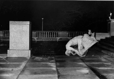 The Thinker post-bombing at the The Cleveland Museum of Art. Courtesy photo