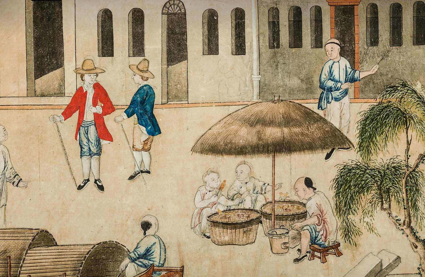 Detail of Chinese artist, Chinese wallpaper with a vew of Canton